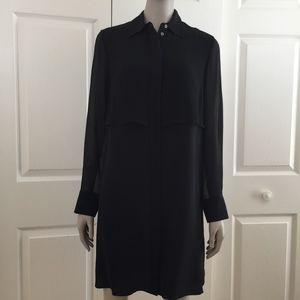 Black silk shirtdress sheer sleeves Club Monaco